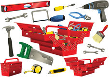 Toolboxes with hand tools. Illustrations of various D.I.Y. work tools including an electric drill, tool box, saw and hammer. E.P.S. 10 vector file included with Royalty Free Stock Photo
