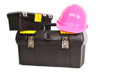 Toolboxes with helmet Royalty Free Stock Images