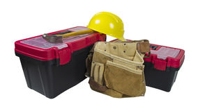 Toolboxes Tool Belt and Hard Hat Stock Photo