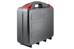 Toolcase noir en plastique avec les étiquettes rouges Photographie stock libre de droits