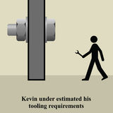 Tooling requirements. Kevin under estimated his correct tooling requirements Stock Illustration