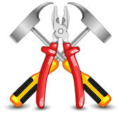 Tooling for work. Hammer and flat-nose pliers, construction, illustration Royalty Free Stock Image