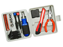 Toolkit. Of various  tools in the grey box Royalty Free Stock Images
