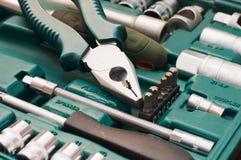 Toolkit der verschiedenen Hilfsmittel im Kasten Stockfotografie