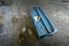 Toolkit on the ground. Blue Toolkit on the ground closeup photo Royalty Free Stock Photos