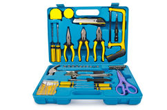 Toolkit with many tools. On white Royalty Free Stock Photo