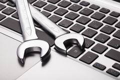 Toolkit. Repair pc web laptop support broken Royalty Free Stock Image
