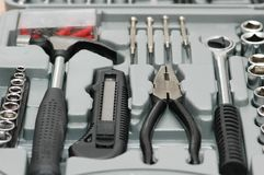 Toolkit with various carpenter. Tools  in the box Stock Photography