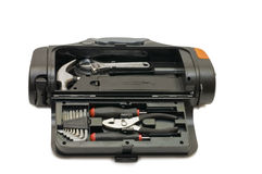Toolkit of various tools in the box Stock Photo