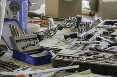 Toolkit of various tools in the box Royalty Free Stock Images