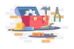 Toolkit z remontowym wyposażeniem, przekładni koło, rolownik, młot ilustracja wektor