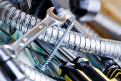 Tools. An assortment of silver  metal tools and utensils Stock Photo