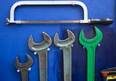 Tools. On a wooden background Royalty Free Stock Photography