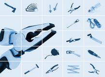 Tools. Set of pliers with different instrumental tools Stock Photo