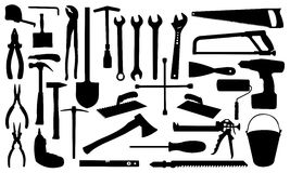 Tools. Construction tools silhouettes isolated on white Royalty Free Stock Photo