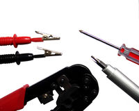 Tools. A set of electronics and network tools isolated on white Stock Image