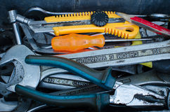 Tools. Various tools in a toolbox Stock Photography