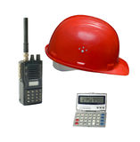 Tools. Daily tools of a construction engineer.Isolated over white for latter use royalty free stock image
