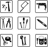 Tools. Various industry icons in black an white vector illustration