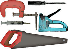 Tools. A color illustrated set of tools including: saw, syringe, stapler, screwdriver, c-clamp vector illustration