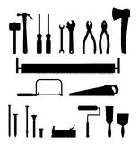 Tools. 21 tools needed in construction, plumbing, carpenting, etc: hammer (2), screwdriver (2), pliers (2), ax, saw (3), nail (2), bolt (3), jointer, painting Royalty Free Stock Images