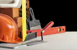 Tools and accessories for the bricklayer stock image