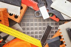 Tools and accessories for construction stock photo