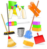 Tools and accessories for cleaning. Vector illustration depicting various tools and accessories for cleaning royalty free illustration