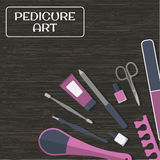 Tools and accessories for manicure and pedicure on wooden background Royalty Free Stock Photography