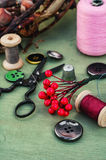 Tools and accessories for needlework. Stock Photos