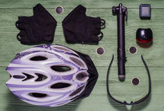 Tools and accessories set for cycling, flat lay. Royalty Free Stock Photo