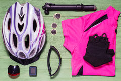 Tools and accessories set for cycling. Royalty Free Stock Image