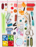 Tools and accessories for sewing. Top view. Flat lay composition Stock Photos