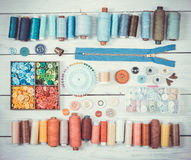 Tools and accessories for sewing. Vintage tone. Top view. Royalty Free Stock Images