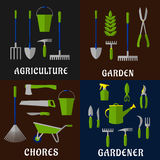 Tools for agriculture and gardening work Royalty Free Stock Images
