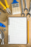 Tools And Pad On Wood Stock Image