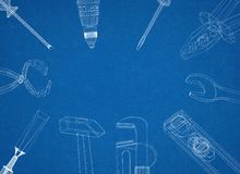 Tools - Architect Blueprint Royalty Free Stock Images