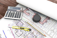 Tools of the architect in the drawings Royalty Free Stock Images