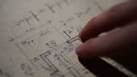 Tools of an architect stock footage