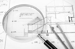 Tools for architectural project Royalty Free Stock Images
