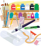 Tools of the artist. Tools and materials which are used in the work by the artist Royalty Free Stock Images
