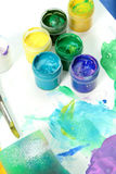 Tools of the artist: paints, brush Royalty Free Stock Image