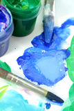 Tools of the artist: paints, brushes Royalty Free Stock Photography