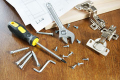 Tools for assembly of furniture Royalty Free Stock Image