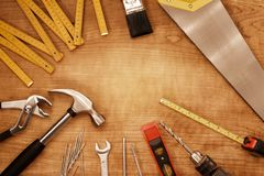 Tools. Assorted work tools on wood Stock Photography
