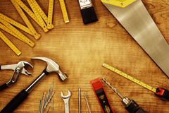 Tools. Assorted work tools on wood Royalty Free Stock Image