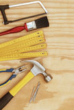 Tools. Assorted work tools on wood Royalty Free Stock Photos
