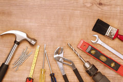 Tools. Assorted work tools on wood Royalty Free Stock Photography
