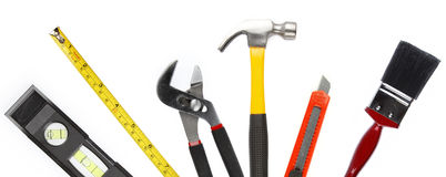 Tools. Assortment of tools on plain background Royalty Free Stock Photos