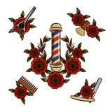Tools for barbershop. Vector illustration of flowers and tools for men`s haircuts in a hipster style Royalty Free Stock Photo